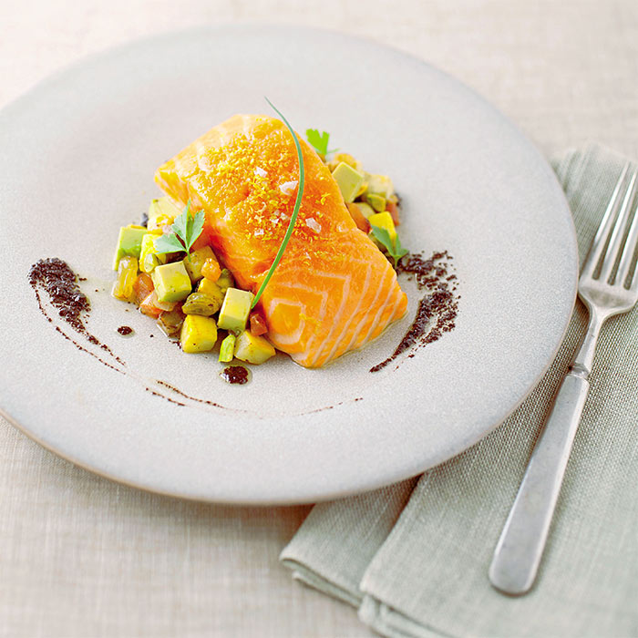 Salmon-Avocado Caponata with Pistachios and Black Olive Oil