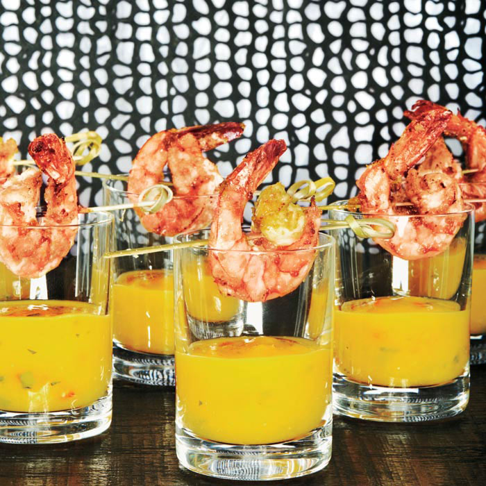 Mango Tequila Shooters with Chili-Lime Shrimp
