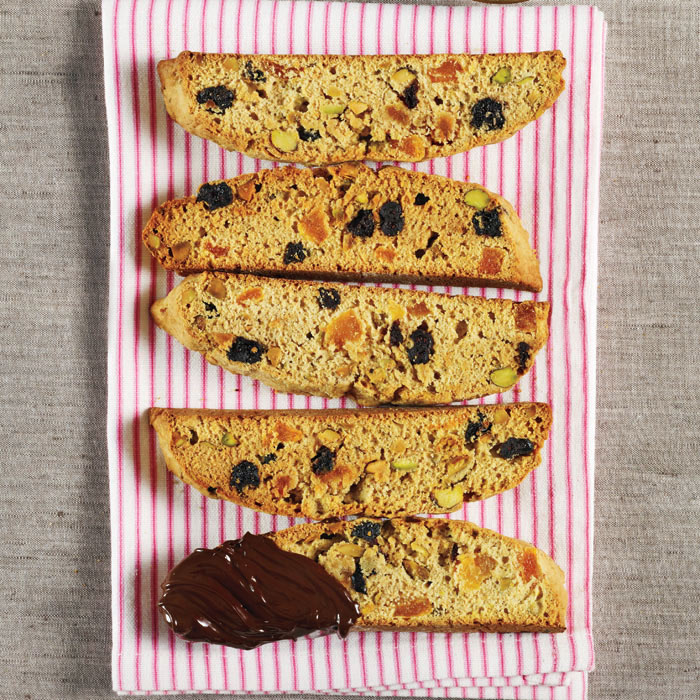 Fruit and Nut Biscotti with Chocolate Drizzle