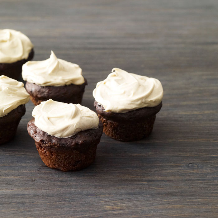 Chocolate-Banana Cupcakes with Peanut Butter Frosting