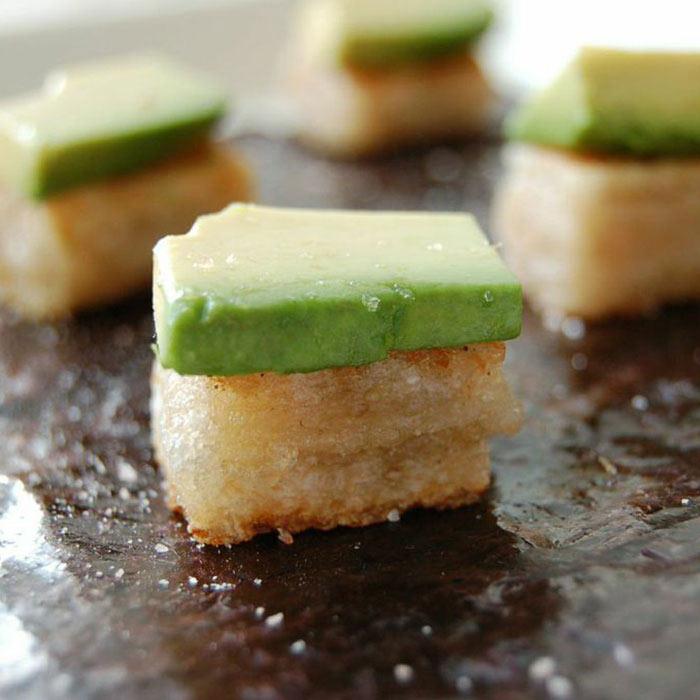 Avocado Topped Yuzu Rice Cakes