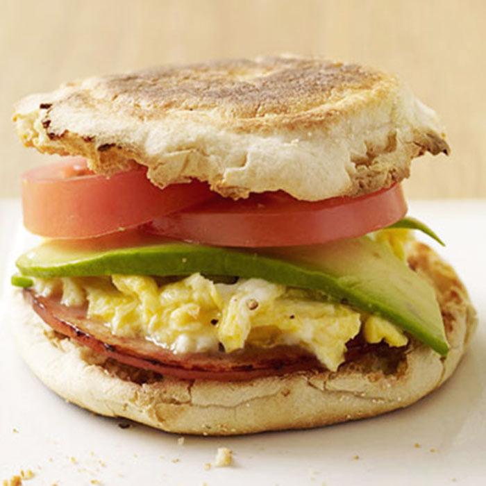Egg, Canadian Bacon, Avocado, and Tomato Sandwiches