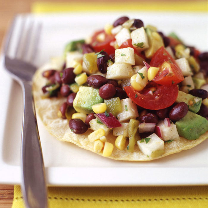 Mexican Black Bean Salad Tostada