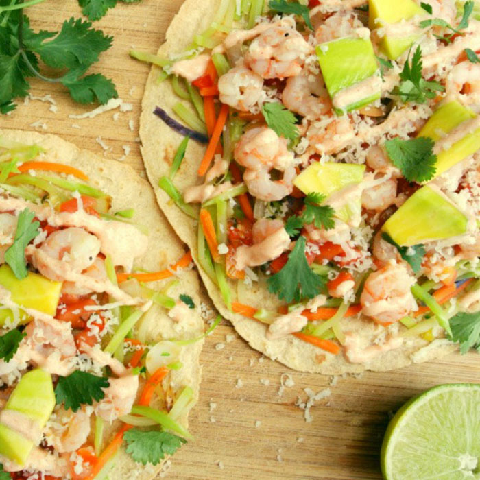 Tampa's Festive Shrimp Tacos with Chipotle Crema