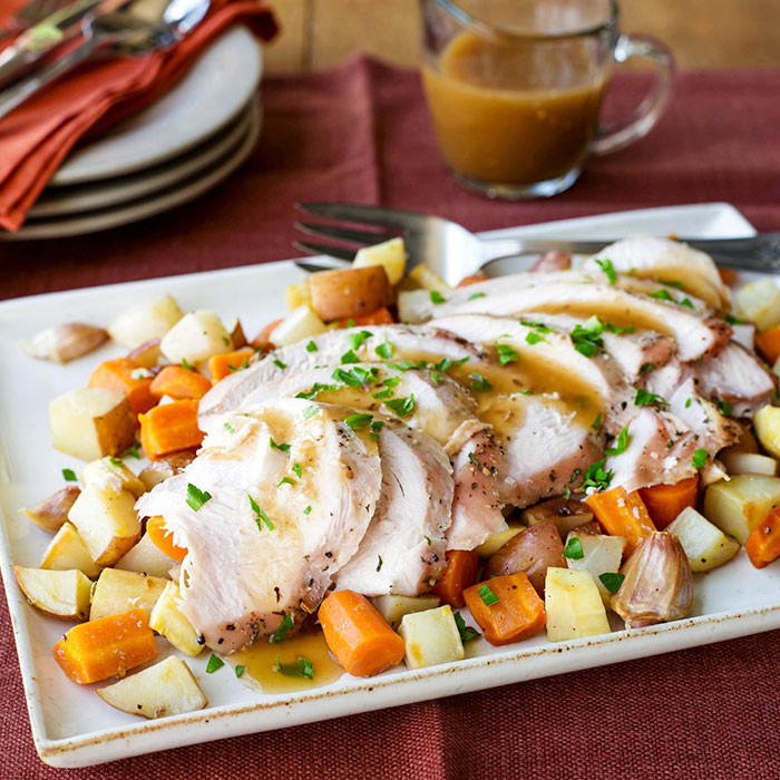 Roast Turkey with Root Vegetables, Lemon, and Garlic