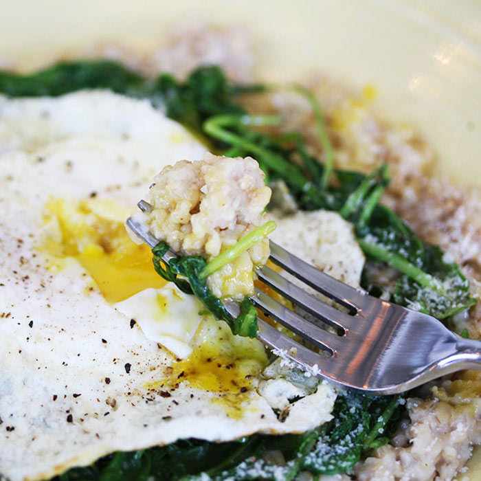Steel Cut Oats with Baby Spinach and Egg