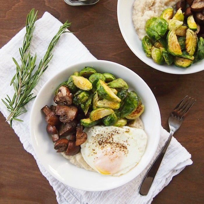 Mashed Bean Bowls with Roasted Vegetables