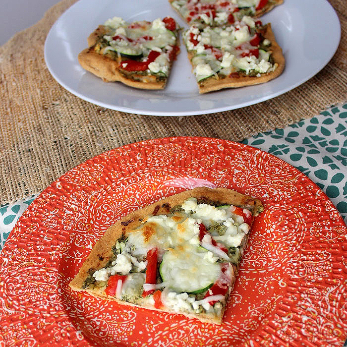 Pizza with Feta and Mint Pesto