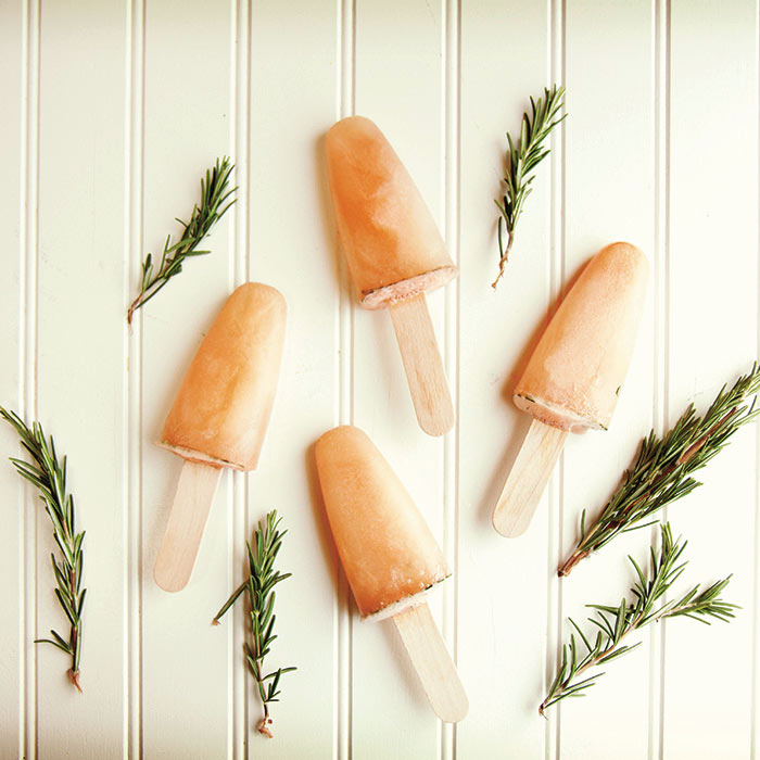 Red Grapefruit and Rosemary Popsicles