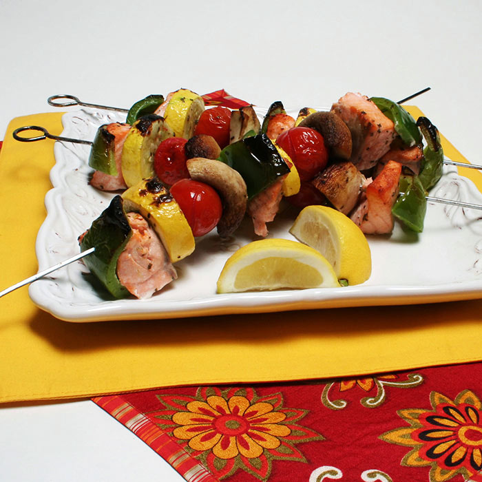 Salmon and Vegetable Oven Kebabs