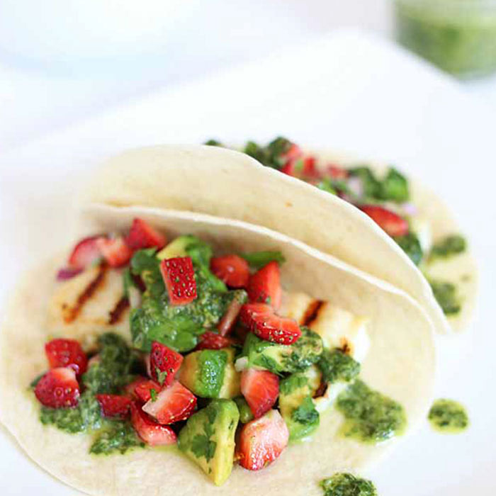 Strawberry Salsa Fish Tacos with Ginger-Cilantro Vinaigrette