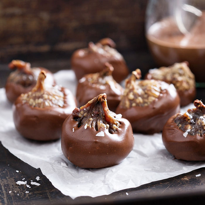 Raw Caramel Stuffed Dark Chocolate Figs