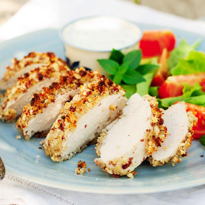 Sesame-Coated Chicken Paillards and Crispy Salad