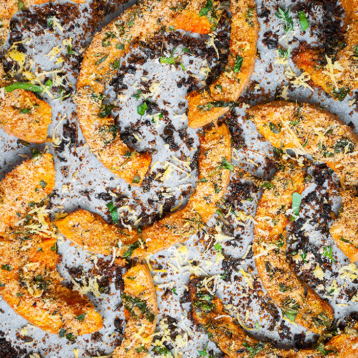 Chile Roasted Squash Wedges with Sesame and Pumpkin Seeds