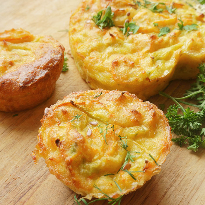 Corn, Sweet Peppers, Cilantro, and Pepper Jack Egg Muffins