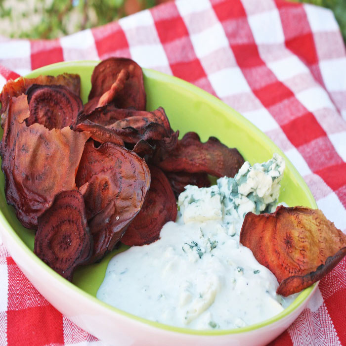 Baked Beet Chips with Blue Cheese Dip