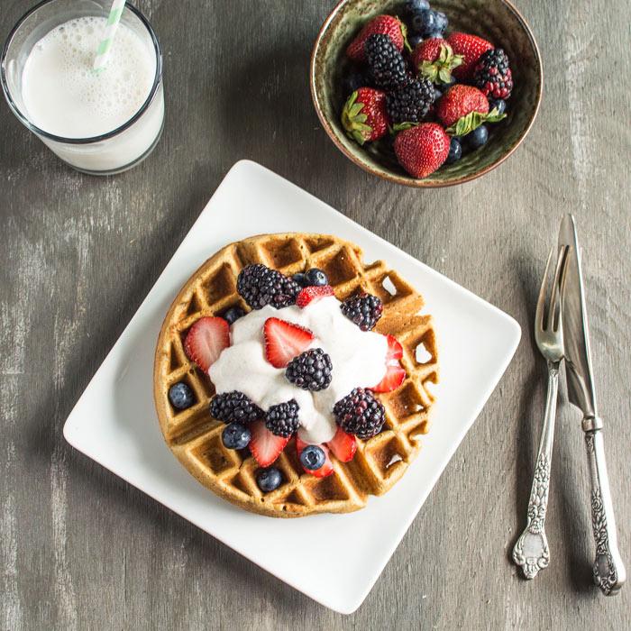 Ginger Oatmeal Waffles and Yogurt Whipped Cream