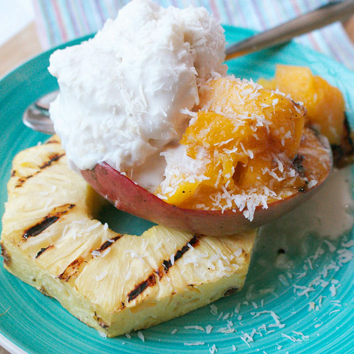 Grilled Tropical Fruit with Coconut Sorbet