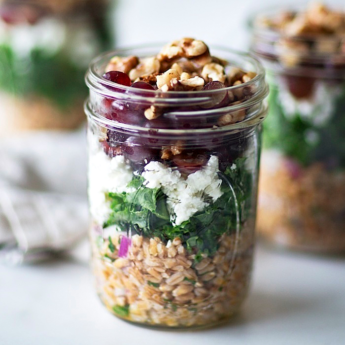 Layered Farro Salad with Kale, Feta, and Grapes