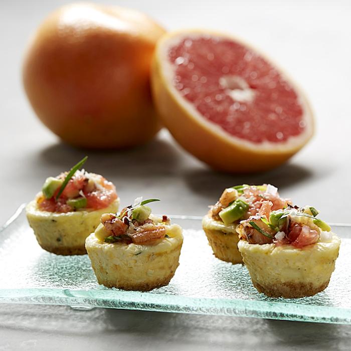 Savory Cheesecake Bites with Crab, Grapefruit and Avocado