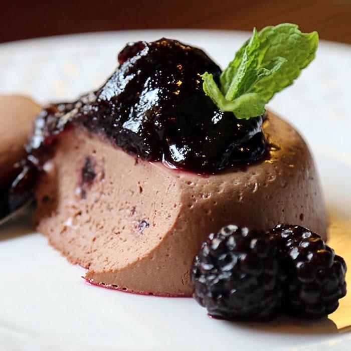 Dark Chocolate Yogurt Panna Cotta and Raspberry Coulis