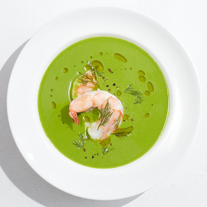 Spring Pea-and-Spinach Matcha Soup With Shrimp