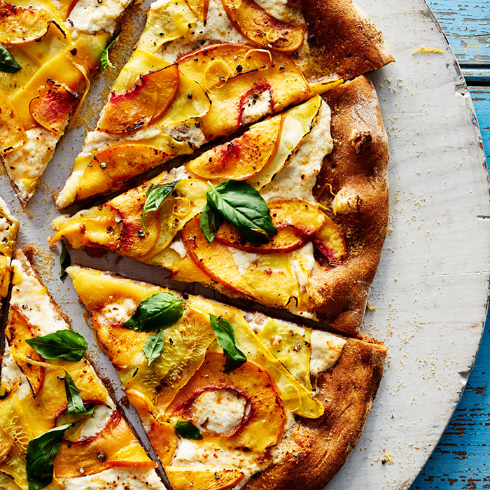 Summer Squash, Nectarine, and Ricotta Pizza