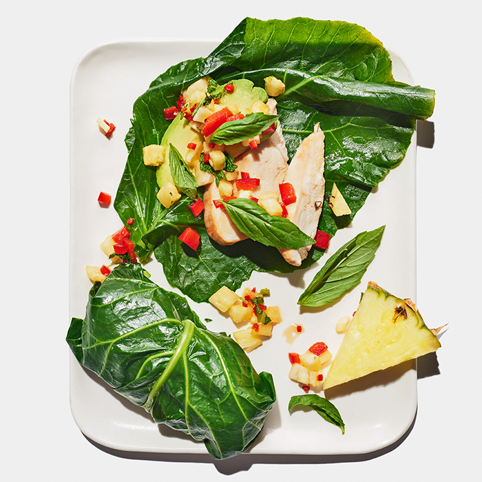 Chicken, Basil, and Pineapple Collard Wraps