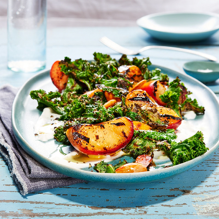 Grilled Kale and Plum Salad with Smoked Almonds