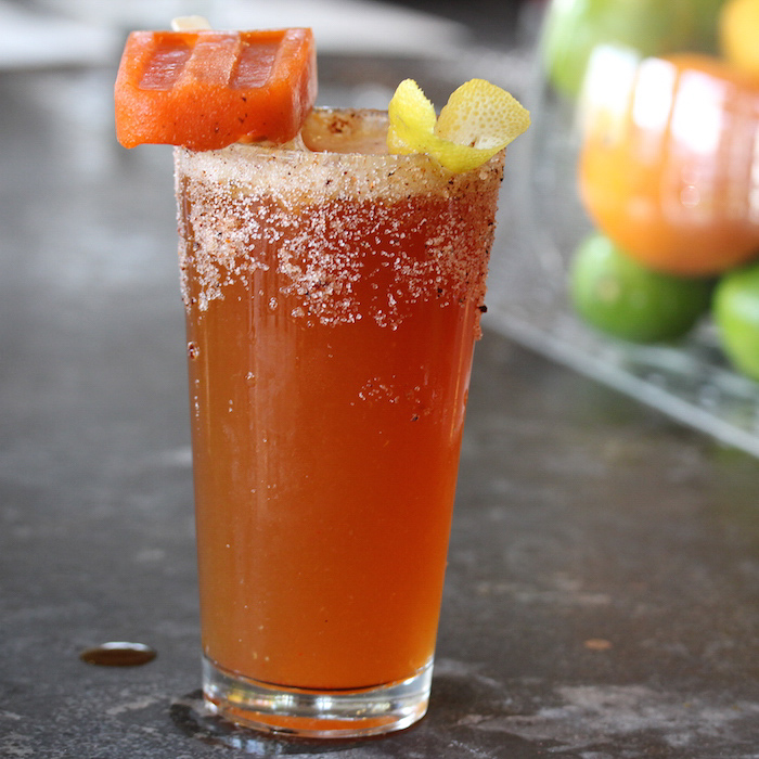Ring My Bell Michelada with Red Pepper Granita