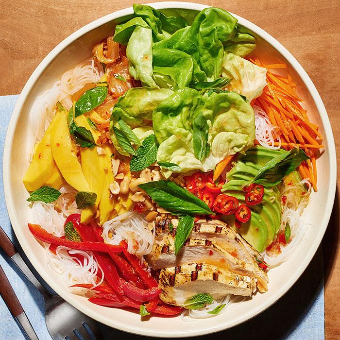 Deconstructed Chicken-Mango Summer Roll Salad