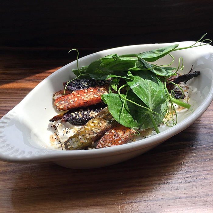 Grilled Carrots With Yogurt, Everything Spice, and Pea Tendrils