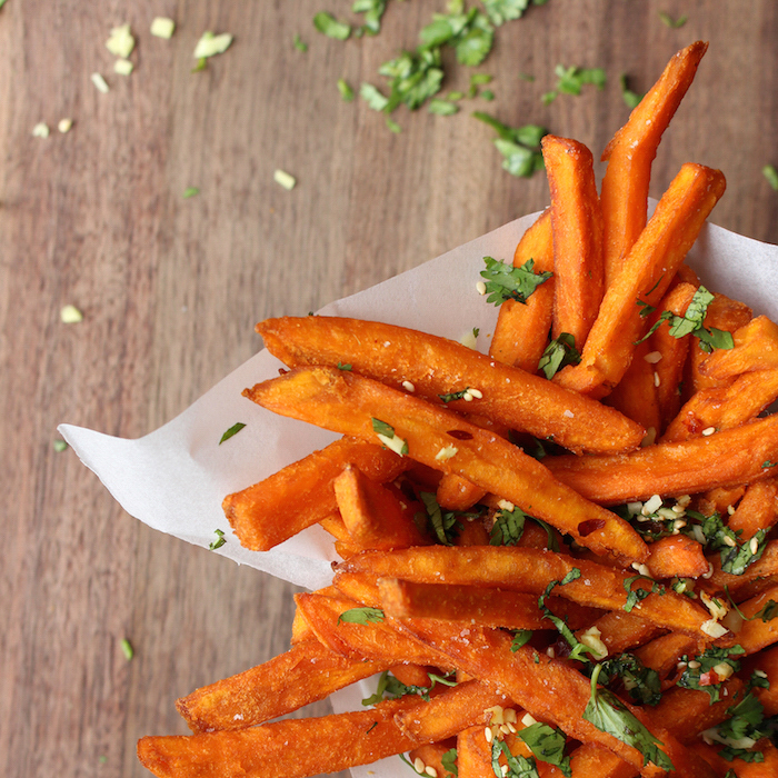 Sweet Potato Fries with Ginger and Cilantro
