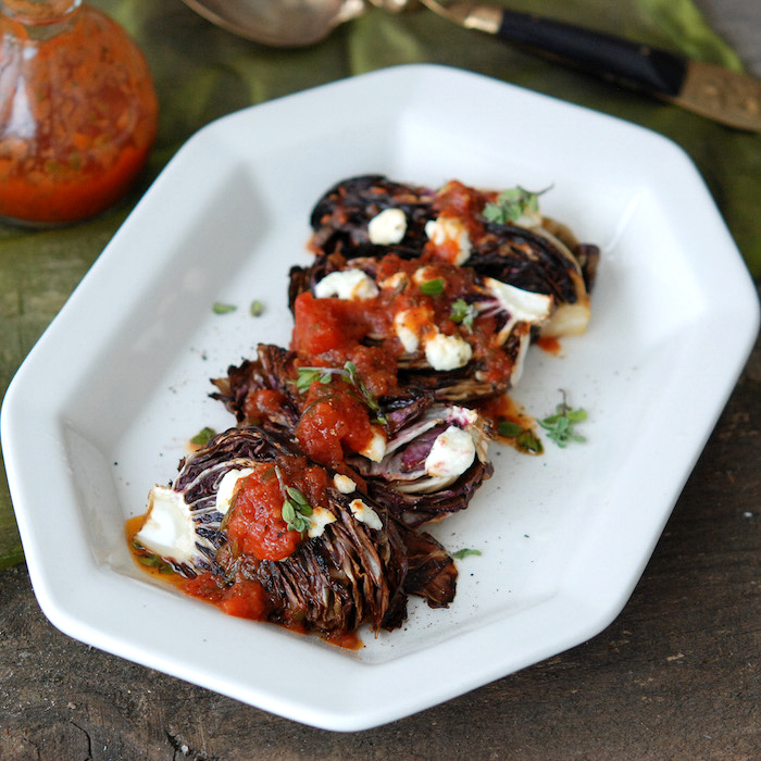 Grilled Radicchio with Goat Cheese and Herbed Tomato Dressing