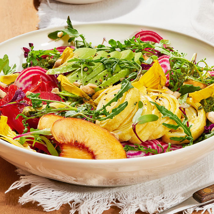 Farmers' Market Salad With Ribboned Goat Cheese Omelet