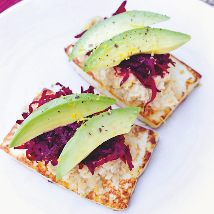 Tofu, Hummus, and Beet Stack
