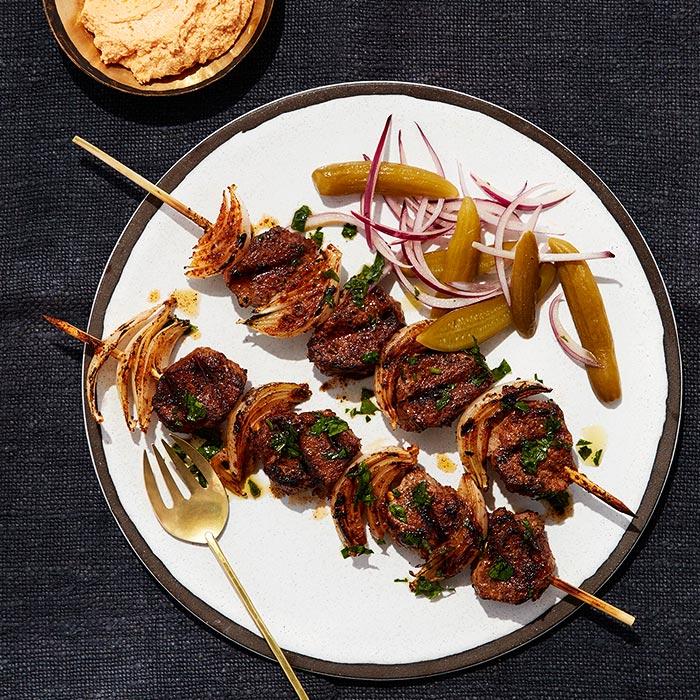 Lamb Kebab Skewers with Harissa Goat Cheese