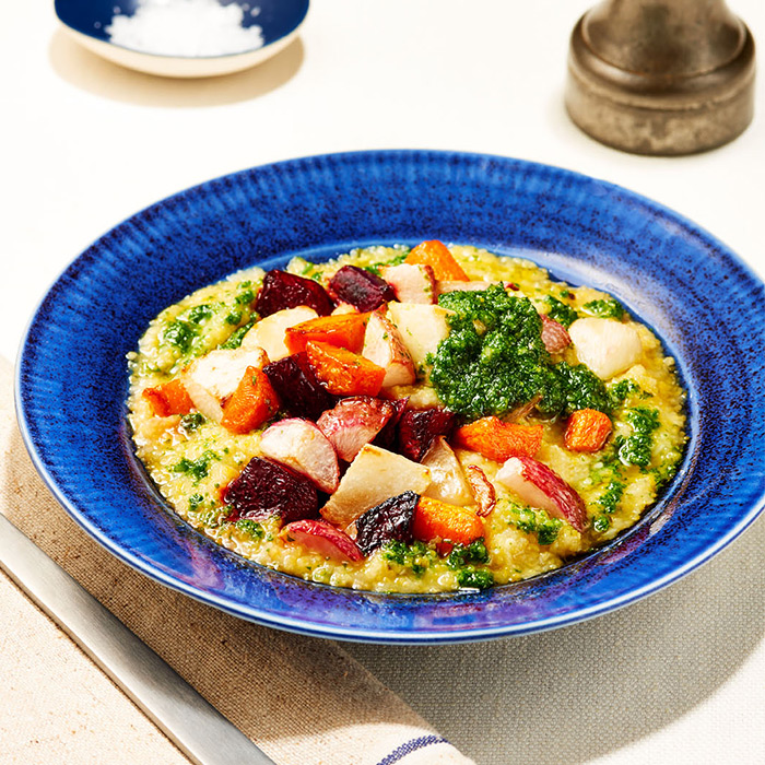 Creamy Polenta with Roasted Root Vegetables and Kale Pesto