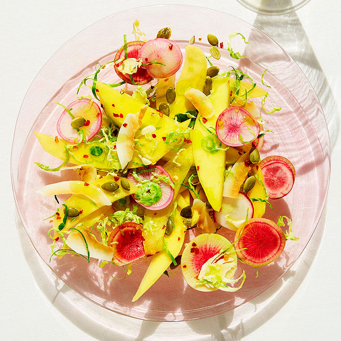Shaved Brussels Sprouts, Mango, and Radish Salad