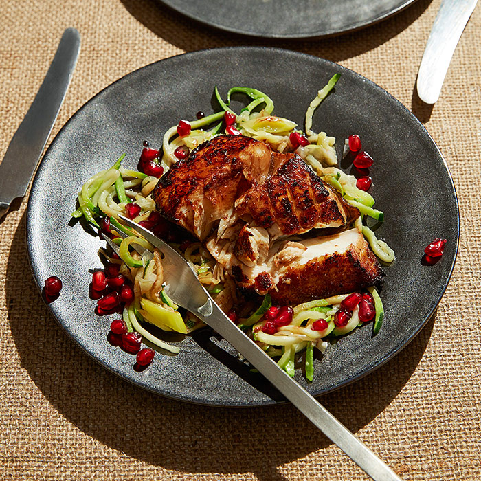 Hibiscus-Glazed Halibut with Zucchini Noodles