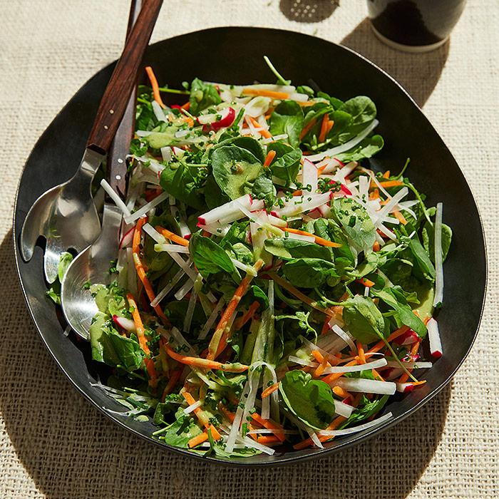 Carrot Daikon Salad with Matcha Dressing