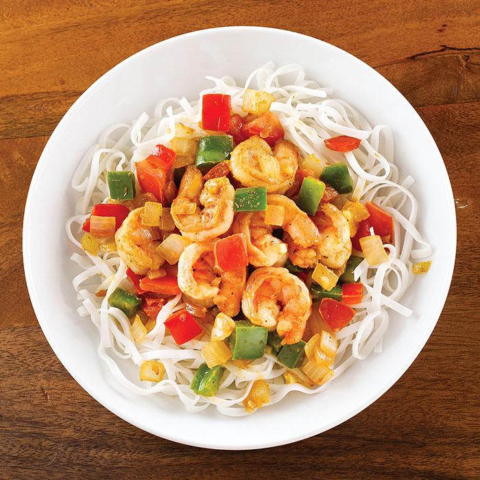 Chimichurri Shrimp with Rice Noodles