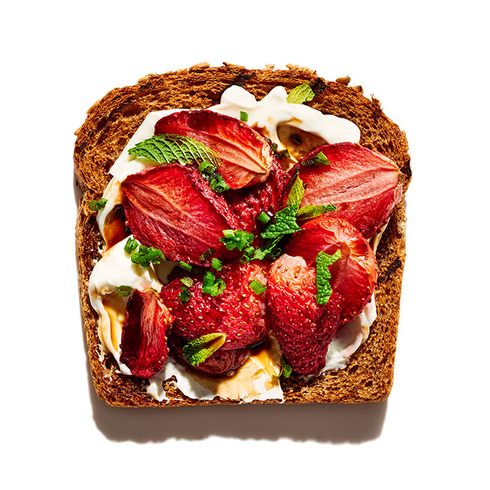 Fromage Blanc, Roasted Strawberries, and Herb Sandwich