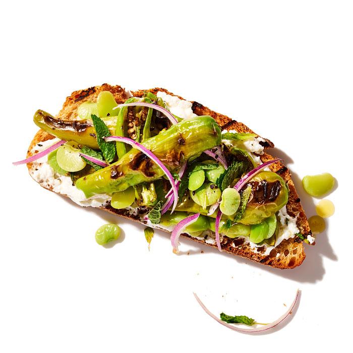 Fava Bean and Shishito Pepper Sandwich