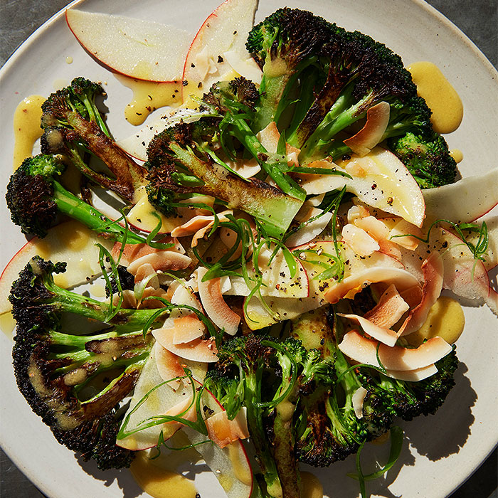 Seared Broccoli Salad With Toasted Coconut and Red Apple