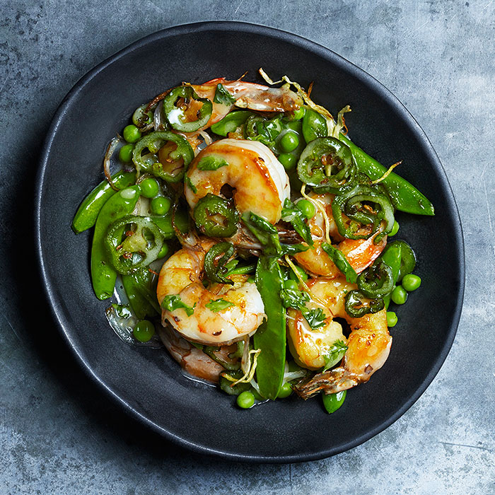 Jalapeno, Three-Pea and Shrimp Stir-Fry