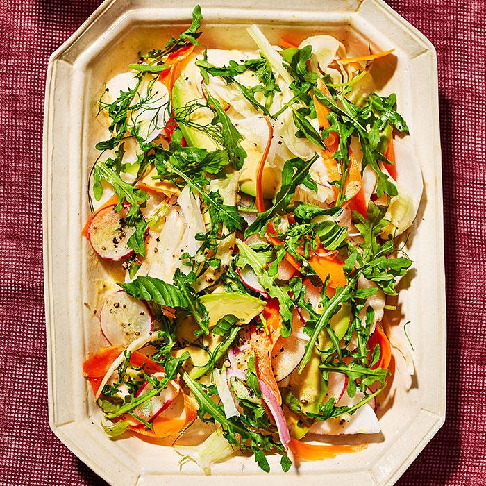 Shaved Vegetables & Arugula with Kefir-Chia Vinaigrette