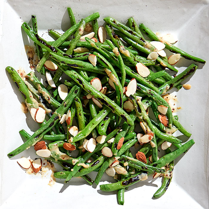Grilled Green Beans with Miso Dressing and Almonds