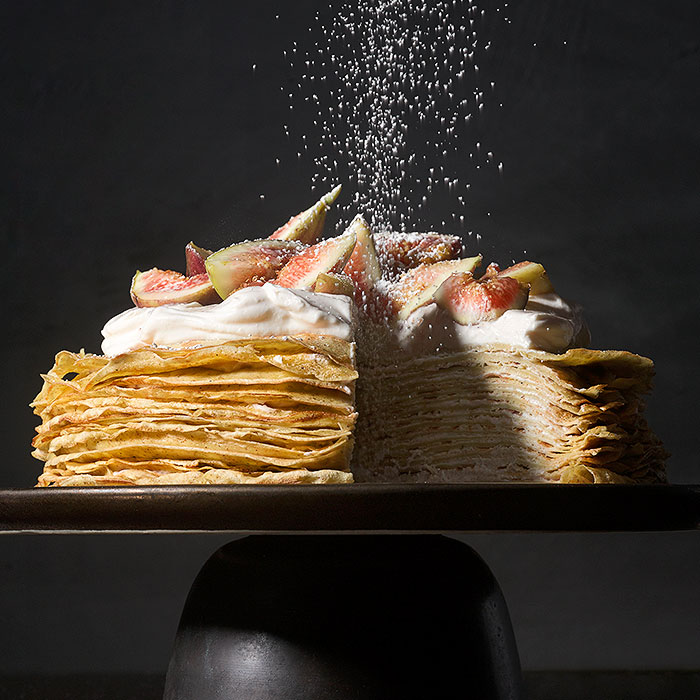 Rye Crepe Cake With Figs and Labneh