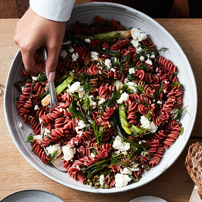 Beet Fusilli With Charred Spring Onions, Capers, and Feta